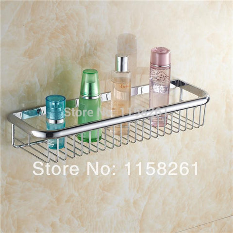 $65.78- Bathroom 45Cm Wall Mounted Chrome Finish Strong Brass Made Square Single Tier Bathroom Shelf Bathroom Basket Kh1066