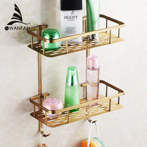 $44.55- Black Brass Bathroom Accessory Kitchen Bathroom Shelf Dual Tier W/ Hook Shower Bracket Basket Hj824