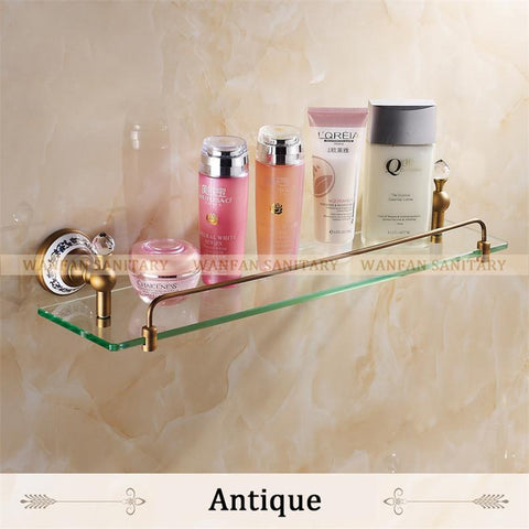 $159.12- Bathroom Shelf Bathroom Accessories Solid Brass Chrome Finish W/ Tempered GlassSingle Glass Shelf 6305