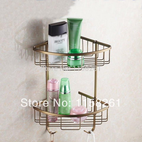 $89.14- Wall Mounted Antique Finish New Brass Bathroom Shower Shelf Basket Holder Fashion Double Layer Hj118