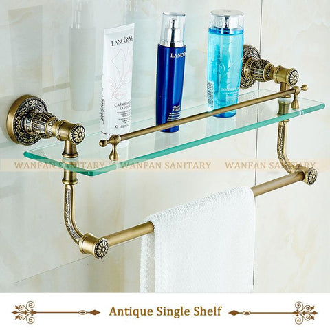 $126.24- Bathroom Accessories Bathroom Glass Shelf Antique Finish W/ Tempered GlassSingle/Double Glass Shelf Bathroom Shelf Sl7838