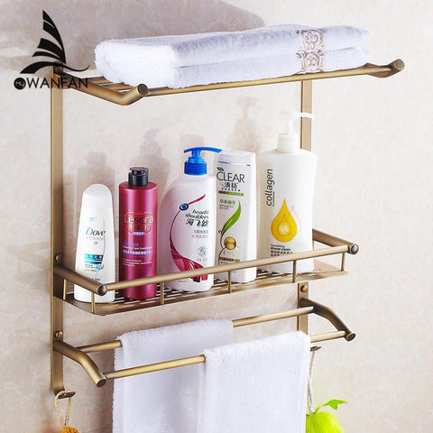 $115.94- Wall Mount Copper 2 Layers Storage Basket Shower Room Bathroom Towel Rack Soap Dish Shampoo Rack Bathroom Shelves Hj821