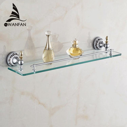 $117.30- Bathroom Accessories Solid Brass Golden Finish W/ Tempered GlassSingle Glass Shelf Bathroom Shelf St6713