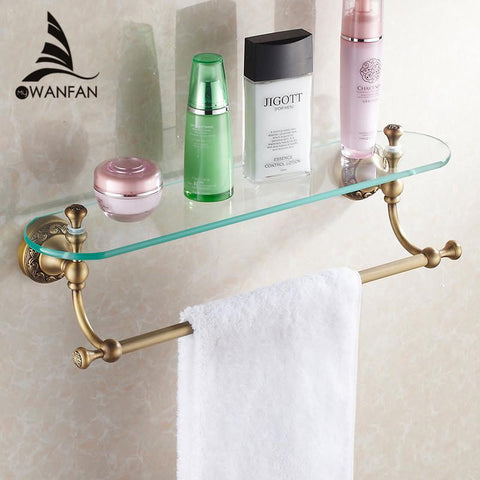 $126.48- Arrival Bathroom Accessories Solid Brass Antique Finish W/ Tempered GlassSingle Glass Shelf St3711