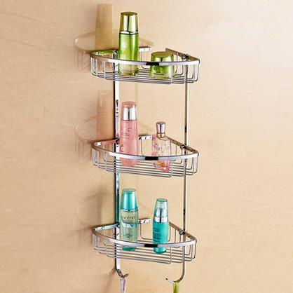 $118.75- Three Tier Bathroom Shelf Copper Bathroom Corner Basket Bathroom Rack Wall Mounted Shower Shelf Bathroom Accessories Og8617
