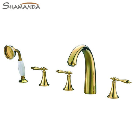 Free Shipping-Bathroom Products Solid Brass Gold-Plating Finished 5 Pcs 5 Holes Bathtub Faucet Mixer Taps-wholesale-2442