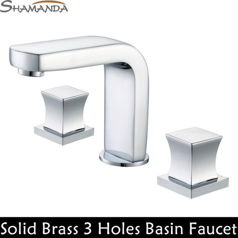 Free Shipping-Bathroom Products Solid Brass Chrome Hot and Cold 3 Holes 2 Handles 3 Pcs Basin Faucet Mixer Taps-Wholesale-2412