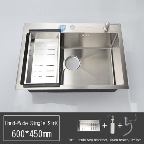 $379.50- Sus304 Stainless Steel Nickel HandMade 3Mm ExtraThick Kitchen Sink W/ StrainerBasket Soap Dispenser