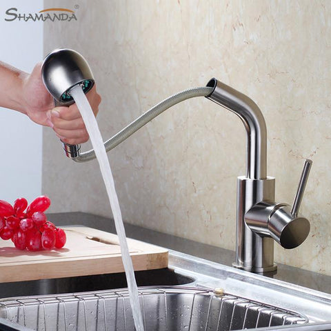 $209.42- Brass Hot Cold Water Mixer Pull Out Kitchen Faucet 360 Degree Rotation Sink Tap 11005