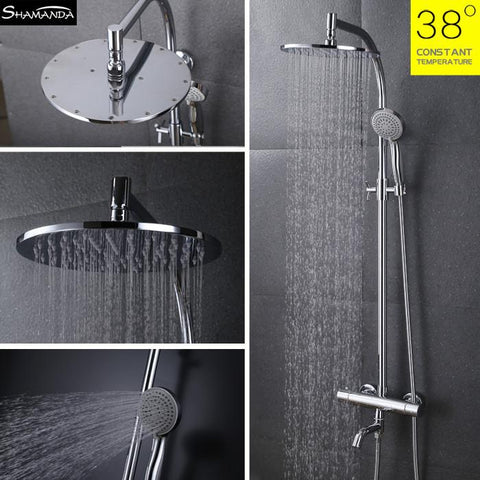 $500.20- Arrival Brass Chrome Bathroom Luxury Wall Mounted Thermostatic Mixer Valve Rain Shower Mixer Set