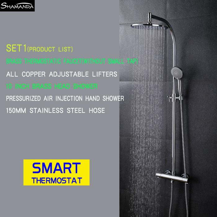$510.04- Arrival Brass Chrome Bathroom Luxury Wall Mounted Thermostatic Mixer Valve Rain Shower Mixer Set