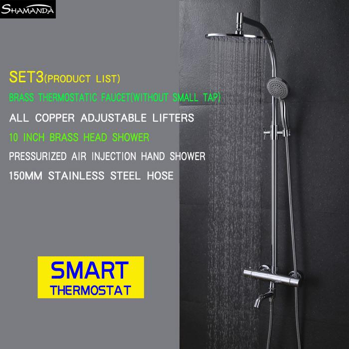 $524.80- Arrival Brass Chrome Bathroom Luxury Wall Mounted Thermostatic Mixer Valve Rain Shower Mixer Set