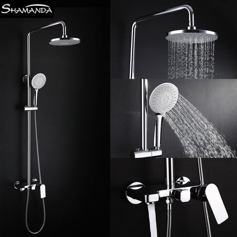 $346.50- Luxury Solid Brass Chrome WallMounted Hot Cold Water Shower Set W/ 8 Inch Rainfall Shower Head 17065