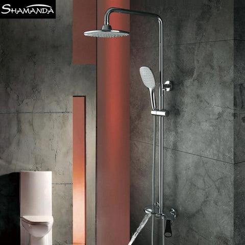 $480.52- Chrome WallMounted Hot Cold Water Round/Square Style Shower Set W/ Rainfall Shower Head 17066