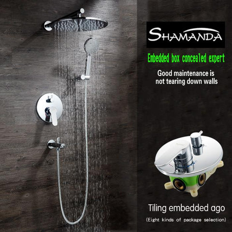 $333.30- Luxury Rainfall Concealed Round Shower Set W/ Brass Two Functions Embedded Box Mixer ValveShower HeadSpout