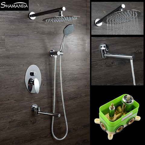 $338.25- Embedded Box Mixer Valve InWall Shower Set Sus Oval Rainfall Shower Head Bathroom Products