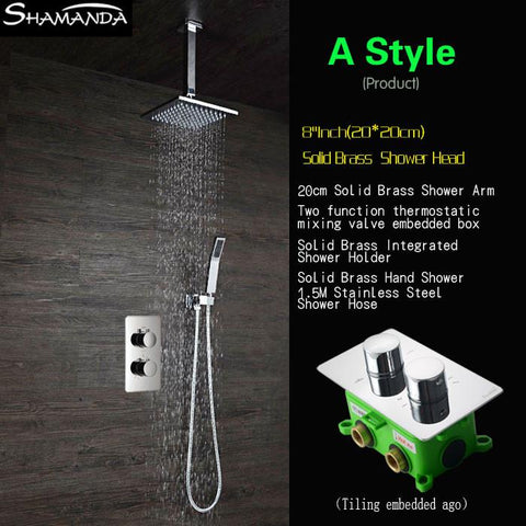 $528.08- Luxury In Wall Two Functions Embedded Box Thermostatic Mixer Valve Shower Set Various Styles Ceiling Shower Head Shower Arm