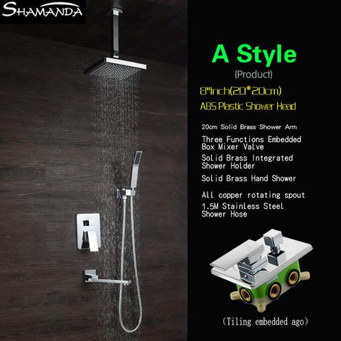$473.63- Luxury Brass Bath Faucet Mixer InWall Mixer Valve Shower Set W/ Spout Shower Head Ceiling Arm Three Functions Embedded Box