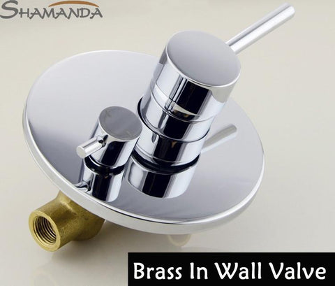 $121.55- Bathroom In Wall Faucet Bath Shower Mixer Solid Brass Chrome Covert Two Function Actuated In Wall Valve 17542