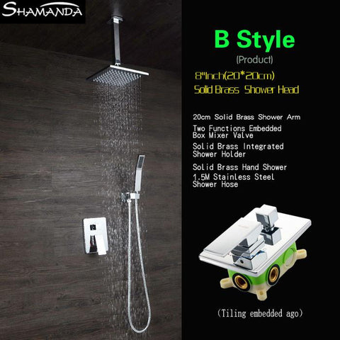 $298.65- Bathroom Faucet Various Styles Shower Head Ceiling Shower Arm Two Functions Embedded Box Mixer Valve Shower Set