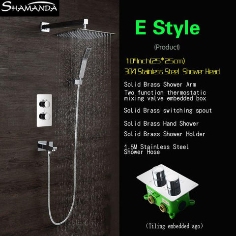 $580.64- InWall Two Functions Embedded Box Thermostatic Mixer Valve Three Ways Water Shower Set Various Styles Shower Head