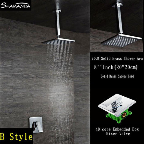 $205.70- Chrome Bath Faucet InWall Embedded Box Mixer Valve Shower Set Brass Ceiling Shower Arm Various Styles Shower Head