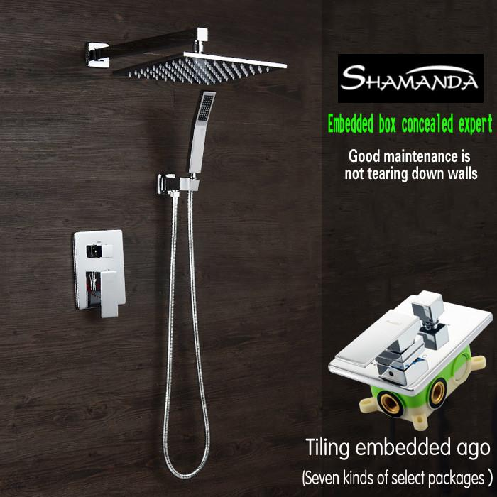 $352.11  Bathroom Faucet Concealed Square Two Functions Embedded Box Mixer  Valve Shower Set W/