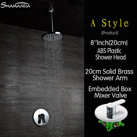 $187.00- Real Chrome Concealed Round Embedded Box Mixer Valve Shower Set W/ Various Styles Ceiling Shower Head Shower Arm