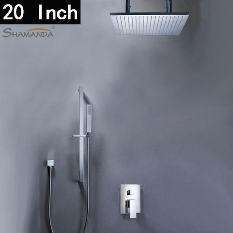 $762.60- Bathroom Products InWall Mounted Faucet Bath Shower Mixer W/ 20 Inch Sus 304 Rainfall Shower Set17549