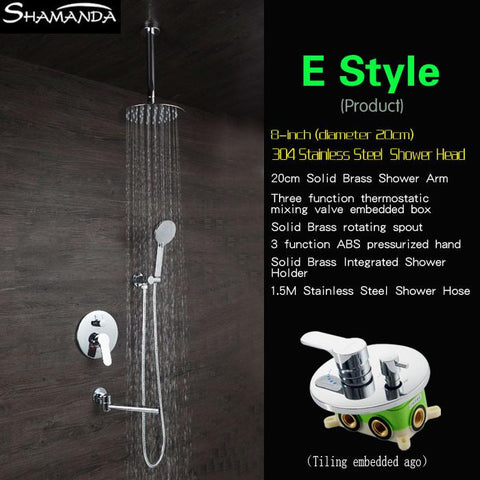 $336.60- Concealed Round Various Rainfall Shower Head Brass Three Functions Embedded Box Mixer Valve Shower Set W/ Spout