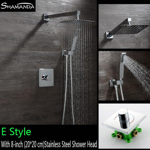 $293.70- Brass InWall Bath Faucet Mixer Square Rotation Style Embedded Box Shower Set Brass Shower Arm Square Shower Head