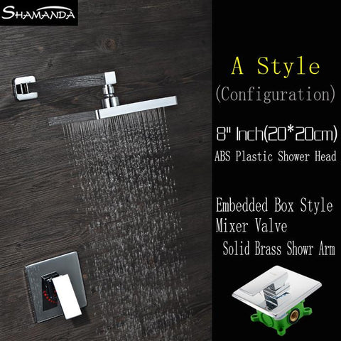 $236.30- Hot Chrome InWall Embedded Box Shower Set Bath Faucet Mixer Brass Shower Arm Various Styles Shower Head