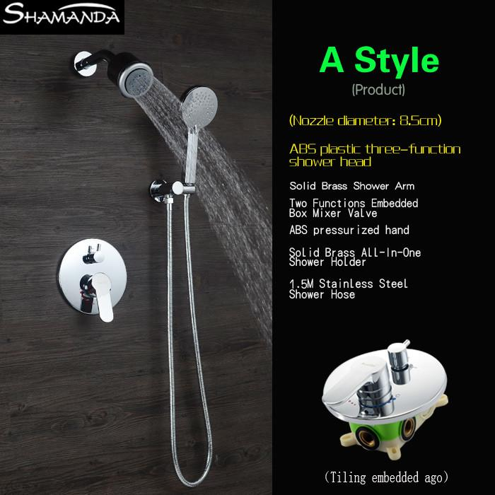 $231.20  Arrival Bath Faucet Various Styles Shower Head Concealed Round  Brass Two Functions Embedded Box