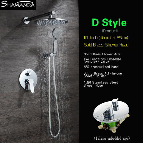 $231.20- Arrival Bath Faucet Various Styles Shower Head Concealed Round Brass Two Functions Embedded Box Mixer Valve Shower Set