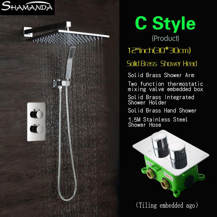 Superbe $590.40  Concealed Two Functions Embedded Box Thermostatic Mixer Valve  Shower Set Various Styles Shower Head