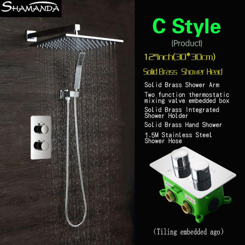 $529.72- Concealed Two Functions Embedded Box Thermostatic Mixer Valve Shower Set Various Styles Shower Head Shower Arm