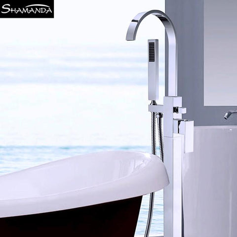 $656.00- Luxury Solid Brass Chrome Floor Mounted Square Bathtub Faucet W/ Hand Shower Bathroom Tub Mixer Faucet 18010
