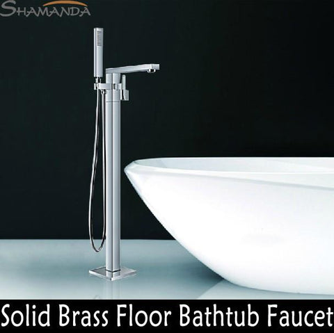$604.21- Bathroom Products Solid Brass Chrome Finished Luxurious Square Floor Mounted Bathtub Faucet Mixer Tap 18007