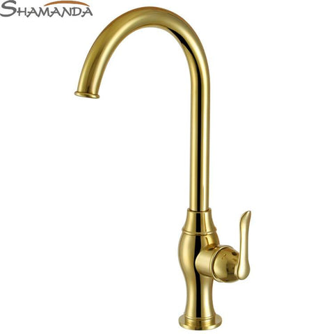 $153.43- European Style Solid Brass Golden Finished Kitchen FaucetZirconium Gold Kitchen Mixer Tap Sink Faucet12075