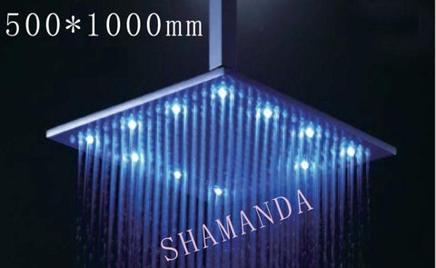 $1152.00- 500*1000Mm Led Shower Head W/ Stainless Steel SelfPowered Led Shower Head Light Shower Three Color 20024