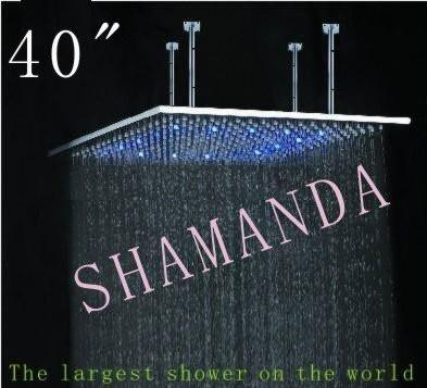 $1705.00- 40 Inch Led Shower Head W/ Stainless Steel 1000*1000 SelfPowered Led Shower Head Light Shower Three Color 20022