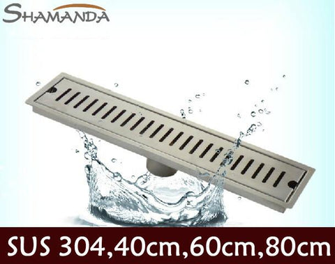 $153.00- Bathroom 304 Stainless Steel Nickel Brushed 80Cm Square Long Floor Drain Waste Grate 24050