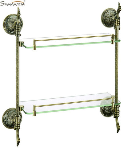 $253.01- Bathroom Accessories European Style Luxurious Antique Bronze Double Glass Shelf 66012B