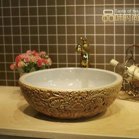 $337.99- Deep Embossed Ceramic Lavabo Pia Banheiro Round Countertop Bathroom Sink Washbasin