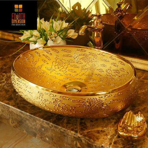 $492.00- Luxurious Gold Propitious Clouds Cranes Ceramic Washbasin Oval Coutertop Bathroom Sink