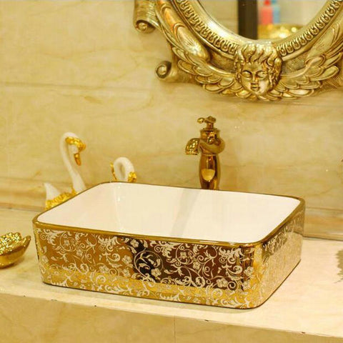 $640.12- Mosaic Gold Rectanglar Washbasin Luxurious Artistic Wash Basin Bathroom Sink