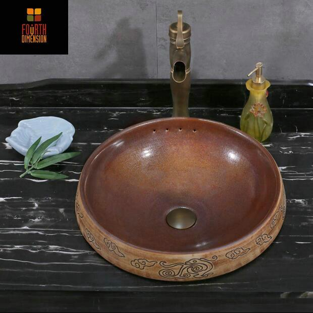 $417.94- Handmade Artistic SemiCountertop Bathroom Sink W/ Overflow Ceramic Bathroom Sink
