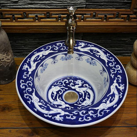 $430.01- Blue White Porcelain Handpainted Dragons Ceramic Bathroom Sink