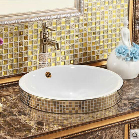 $357.51- Gold Mosaic Ceramic Round Semi Countertop Bathroom Sink Art Basin W/ Overflow