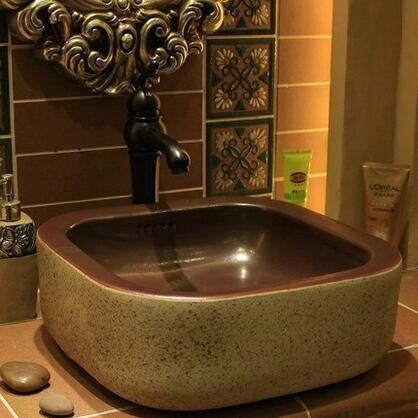 $368.30- Handmade Primitive Style Stone Like Porcelain Countertop Lavabo Bathroom Sink Wash Basin